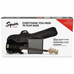 Squier Affinity Series Precision Bass PJ Pack, Laurel Fingerboard, Black, Gig Bag, Rumble 15 - 230V EU